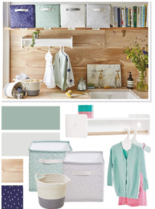 oilcloth storage cubes in laundry room