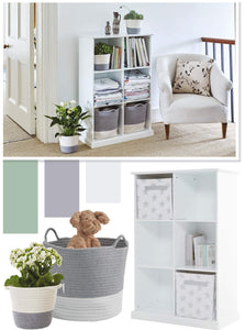 white six cube storage unit filled with rope storage baskets and folded laundry