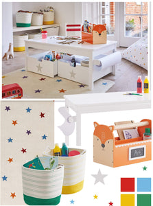 rainbow stardust arts & crafts space with white activity table