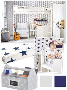 Ivory & navy star study space under high sleeper bed