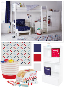 red & navy themed kids' bedroom