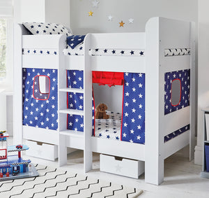 White bunk bed with navy star play curtains
