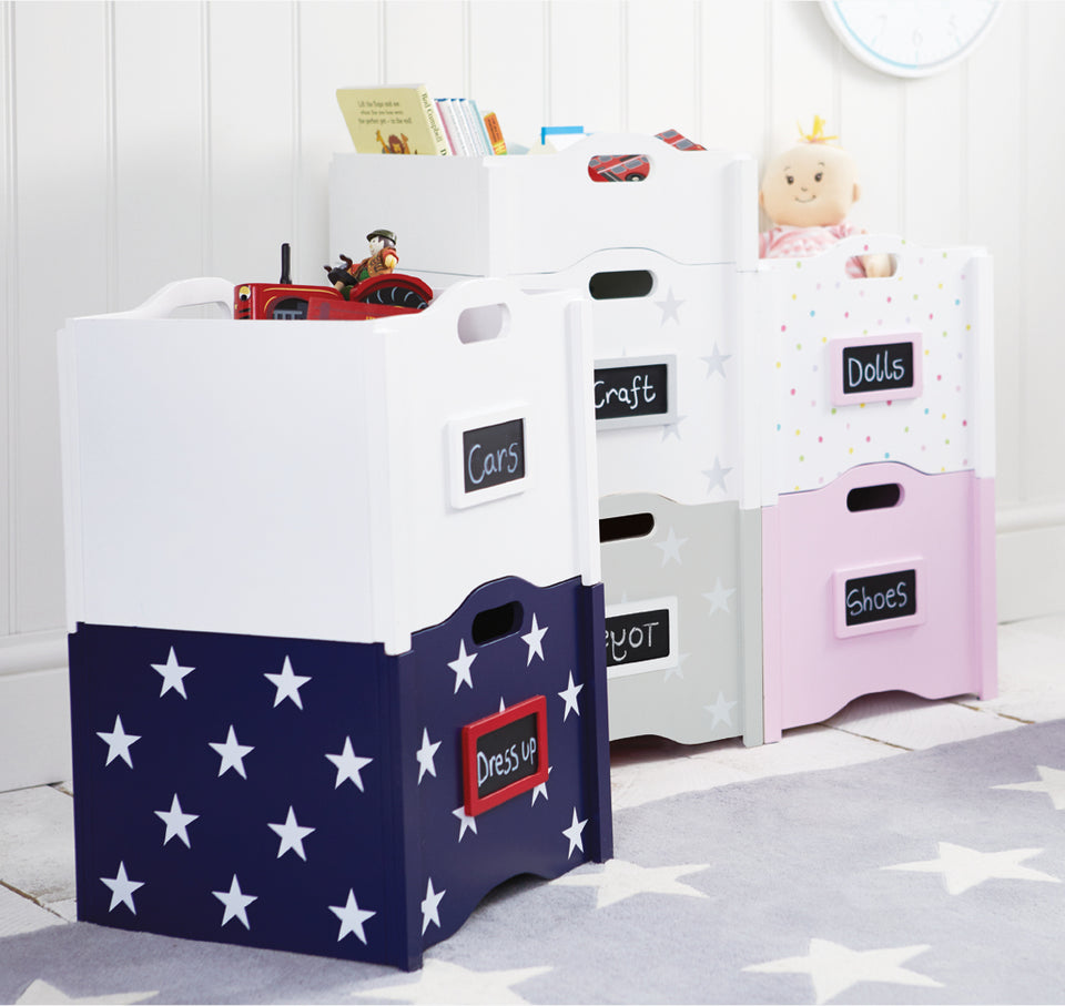 multi-coloured stacking toy boxes