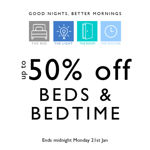 up to 50% off beds & bedtime