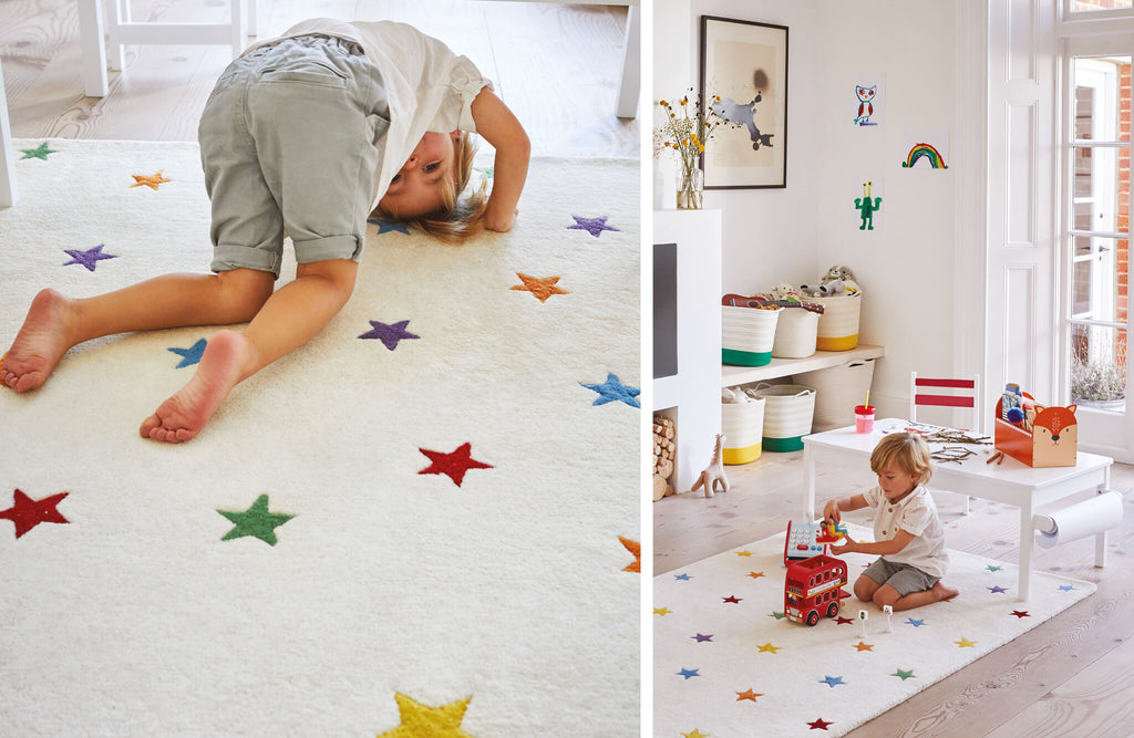 Rainbow Stardust rug in family living room