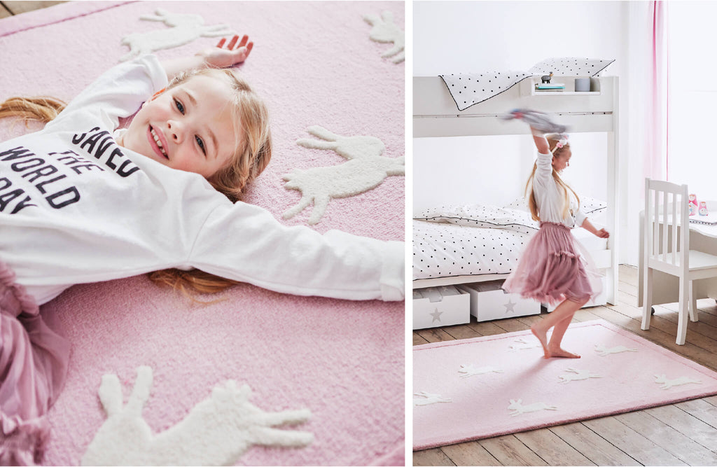 pink bunny design rug in girl's bedroom