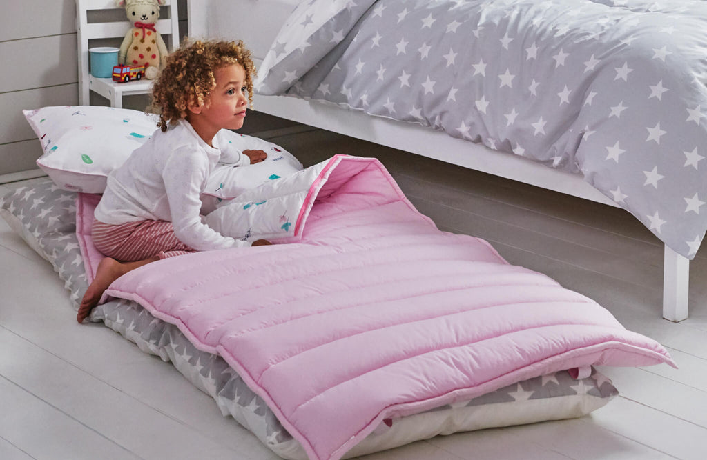 children's pink quilted sleeping bag