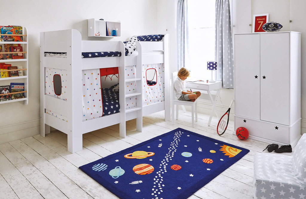 white bunk bed in space themed kids' bedroom