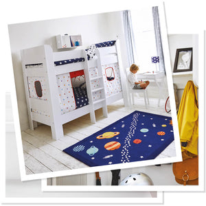 white bunk bed with rainbow stardust play curtains