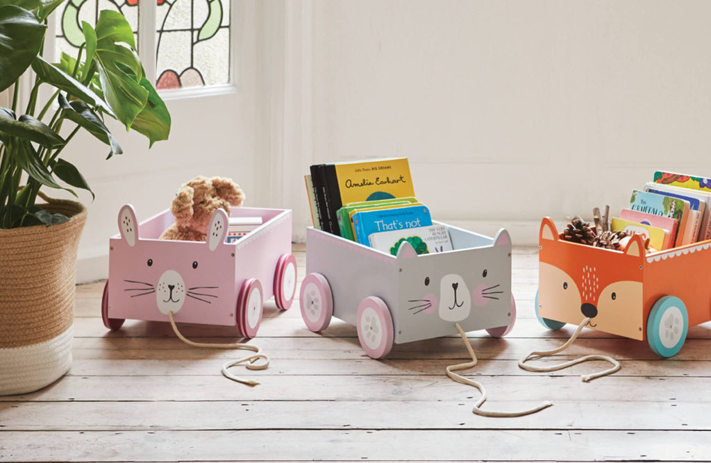book storage carts featuring animal designs