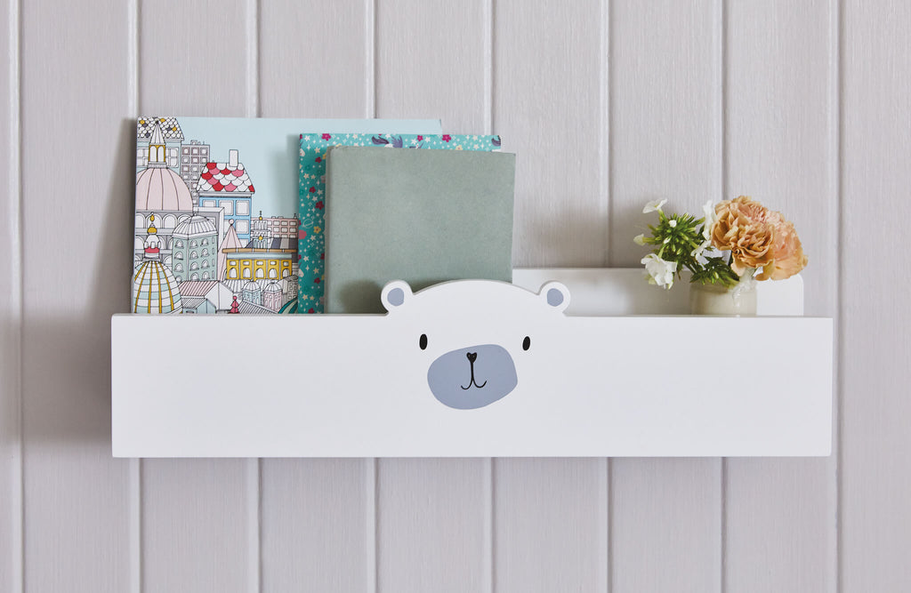 White and grey mr bear book ledge