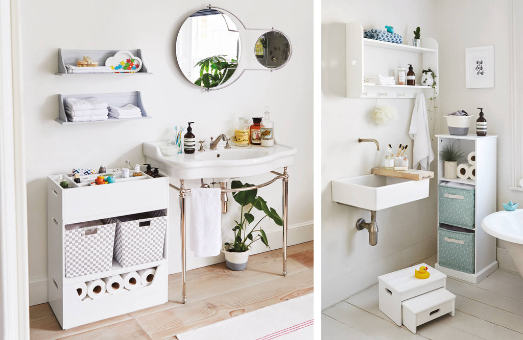 storage solutions in family bathrooms