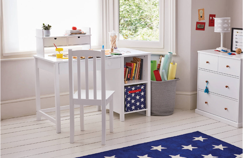 white children's desk and navy star room accessories