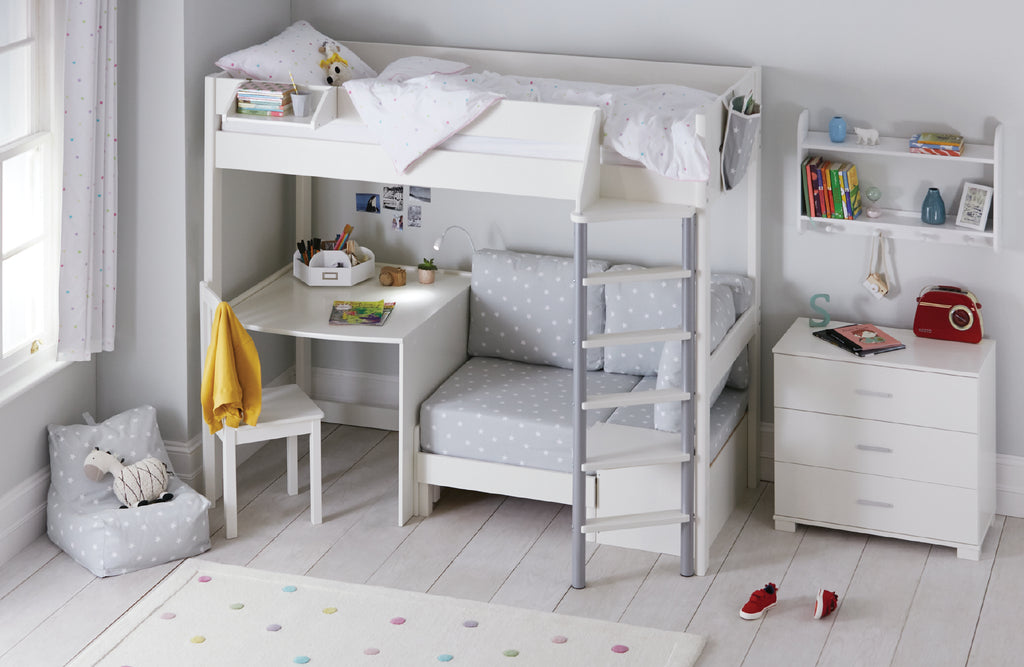 High sleeper bed with grey stardust sleepover chair and desk