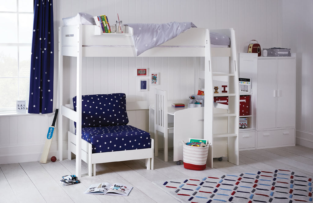 high sleeper bed with navy star sleepover cushions