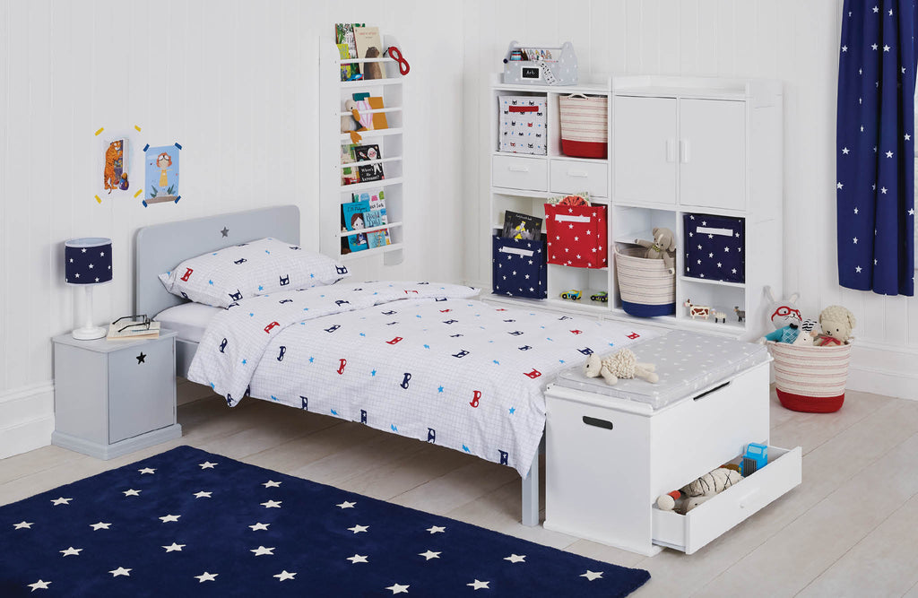 grey, navy, red & white Superhero kids' bedroom