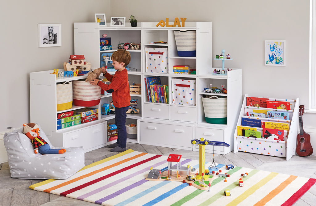 Corner playroom storage