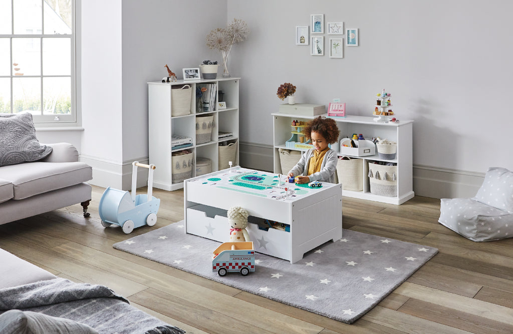 Abbeville cube storage, grey star rug and kids' play table
