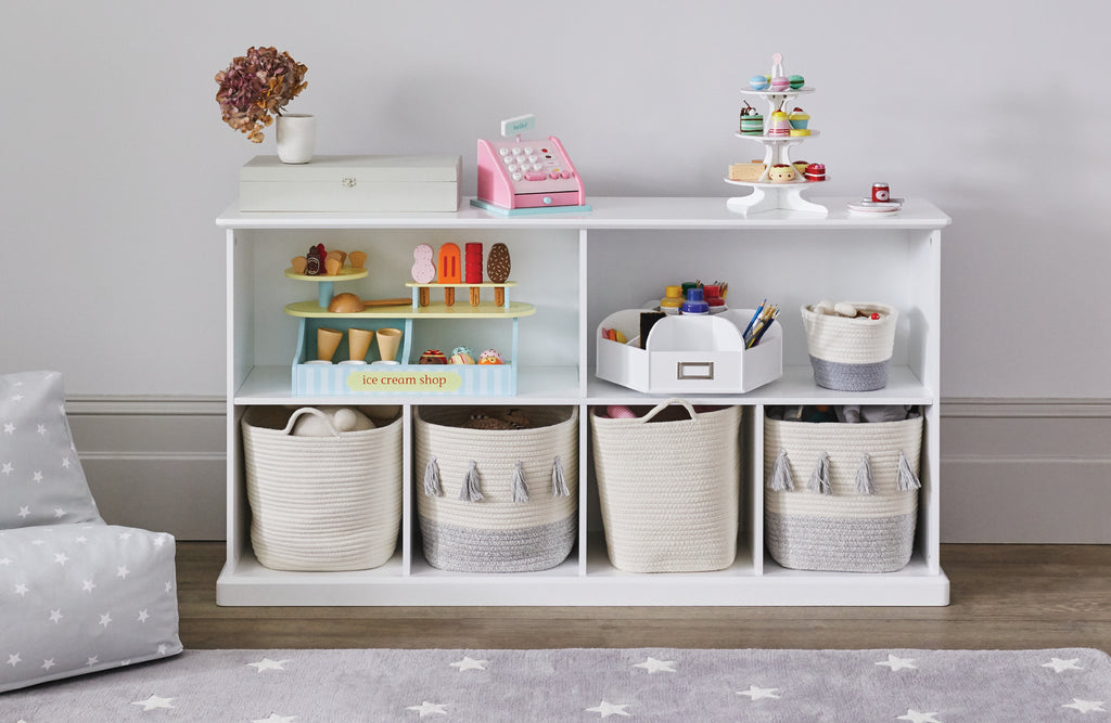 Long cube storage shelf in white with ivory rope & grey storage baskets