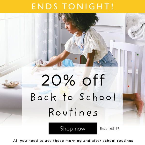 20% off back to school routines ends tonight