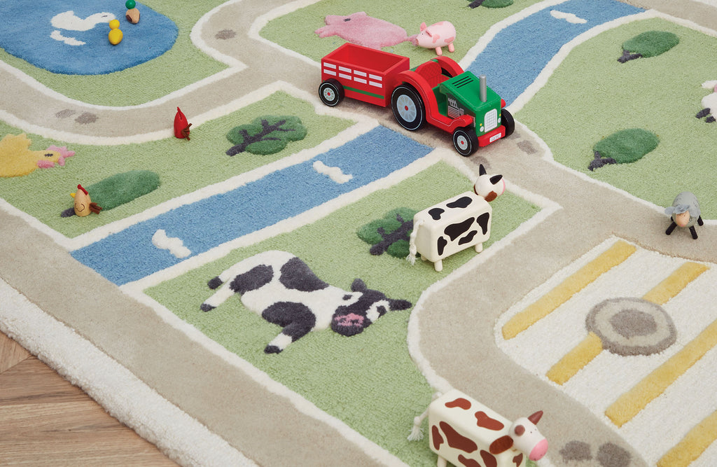 close up of farm children's rug