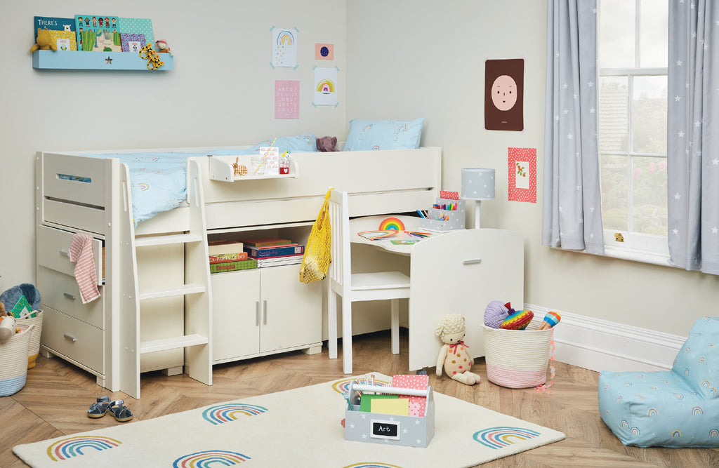 Rainbow kids' bedroom with ivory furniture
