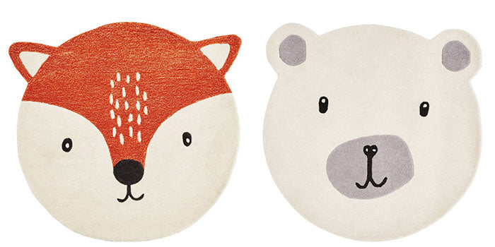 Animal themed bedroom accessories featuring Mr Fox & Mr Bear