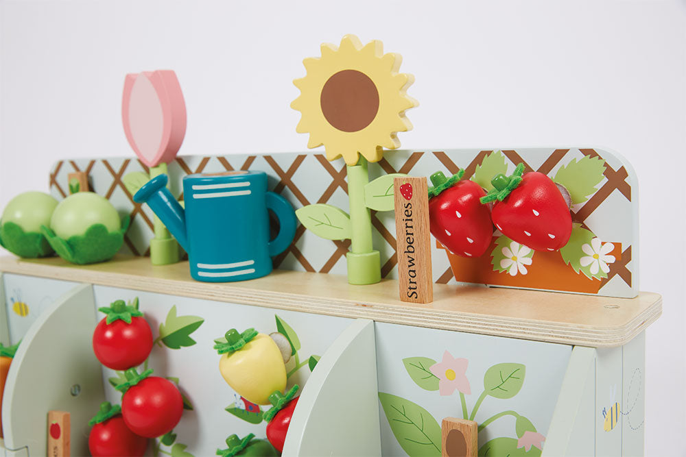 Close up of wooden garden toy