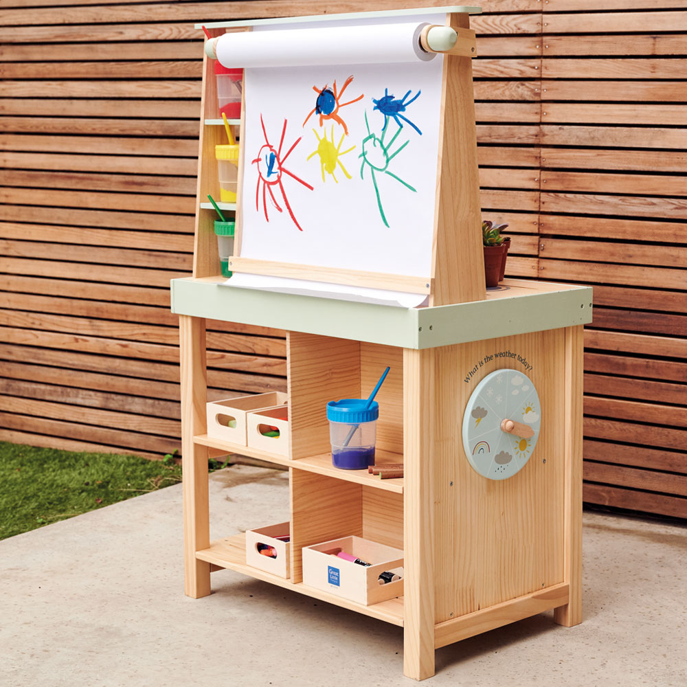 Kids' wooden mud kitchen and art easel