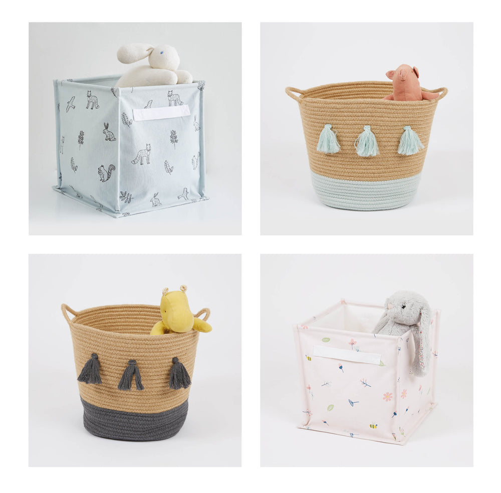 Rope storage baskets and canvas storage cubes