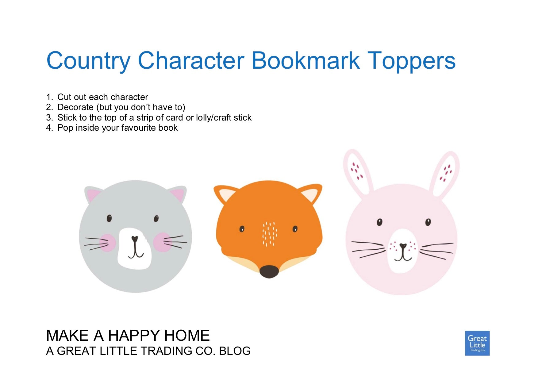 Get Crafty: Make Your Own Country Character Bookmarks