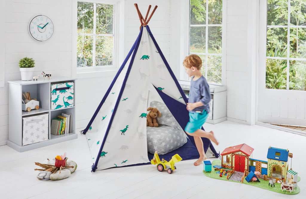 Dinosaur teepee in Playroom