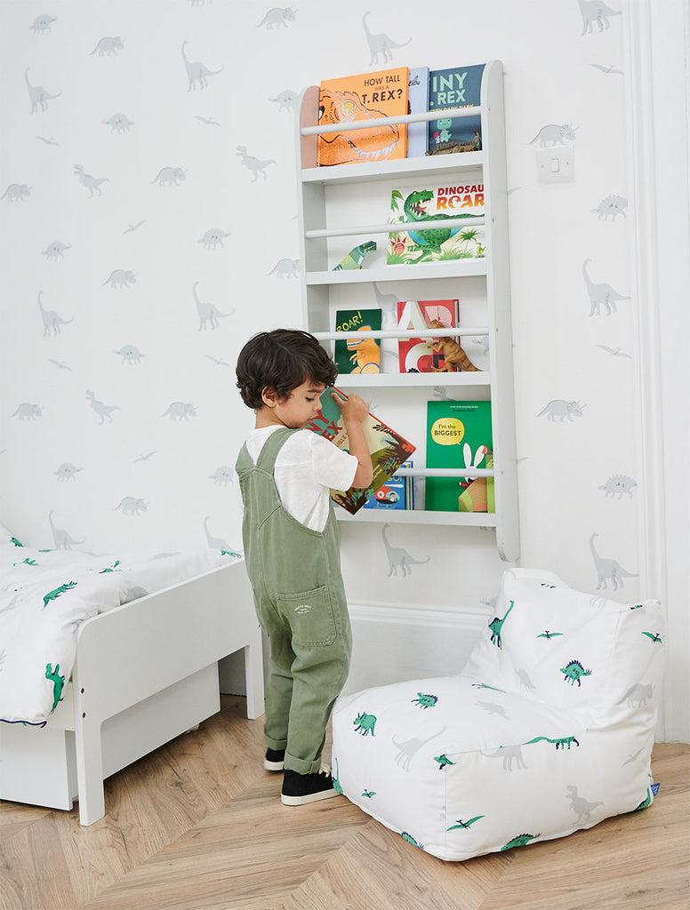 Dinosaure-themed book corner with bean bag and front facing bookcase