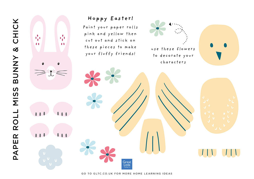 Chick and Easter bunny template for kids crafts