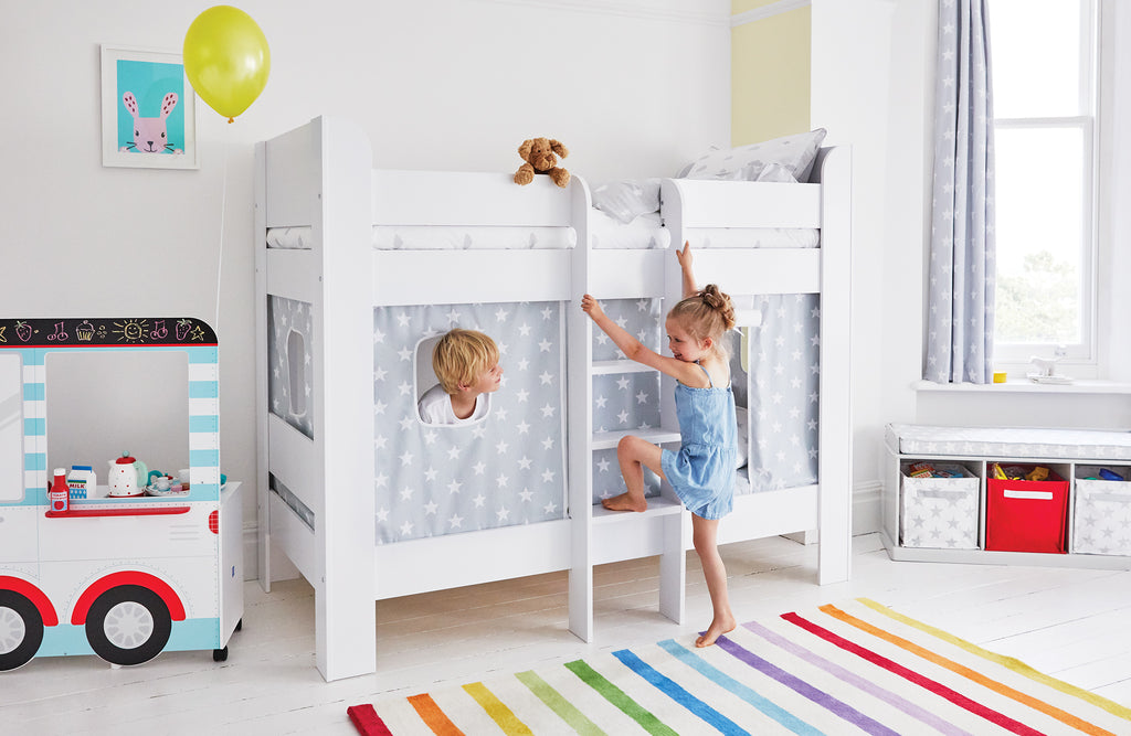 Grey star Paddington Bunk Bed in Rainbow bedroom