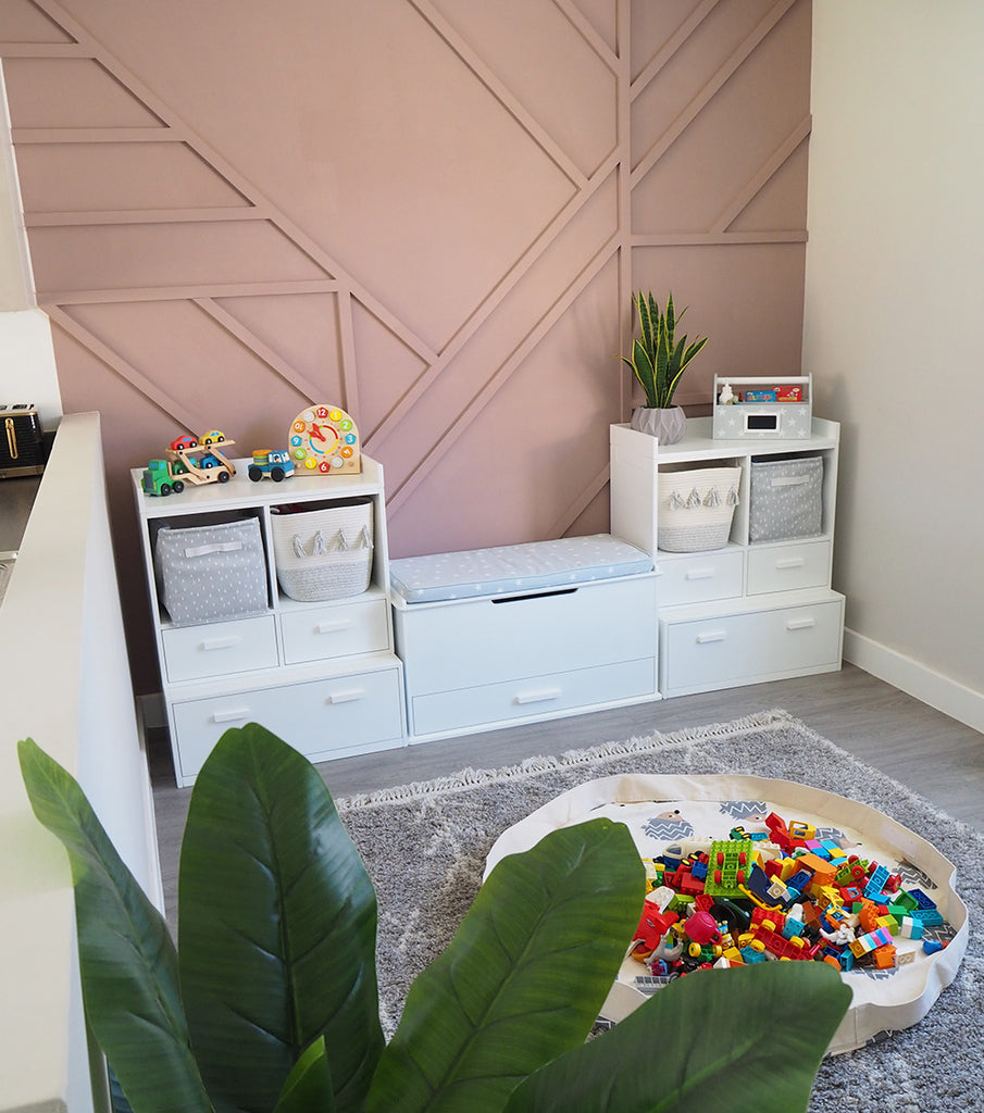 Toy storage in open-plan space