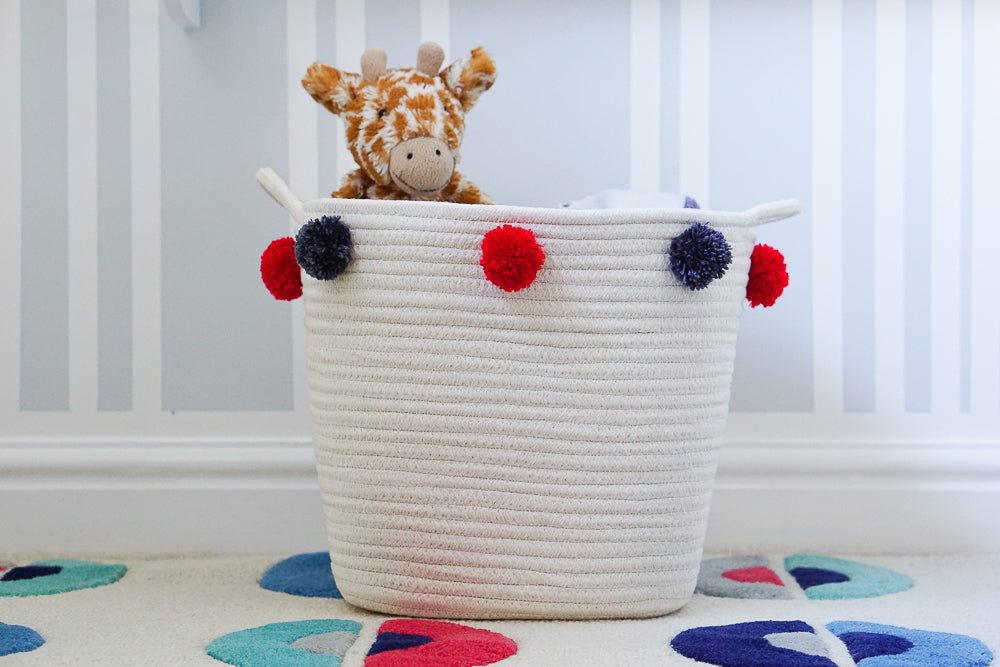 Pom Pom Adorned Storage Baskets