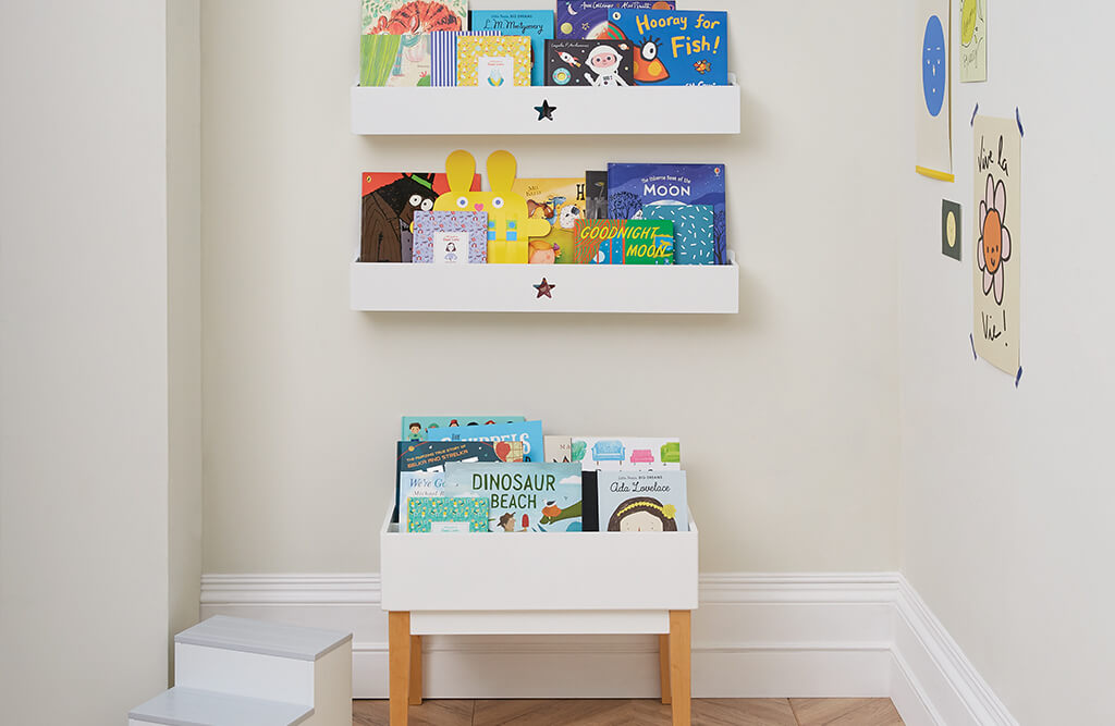 Potter book corner and wall shelves
