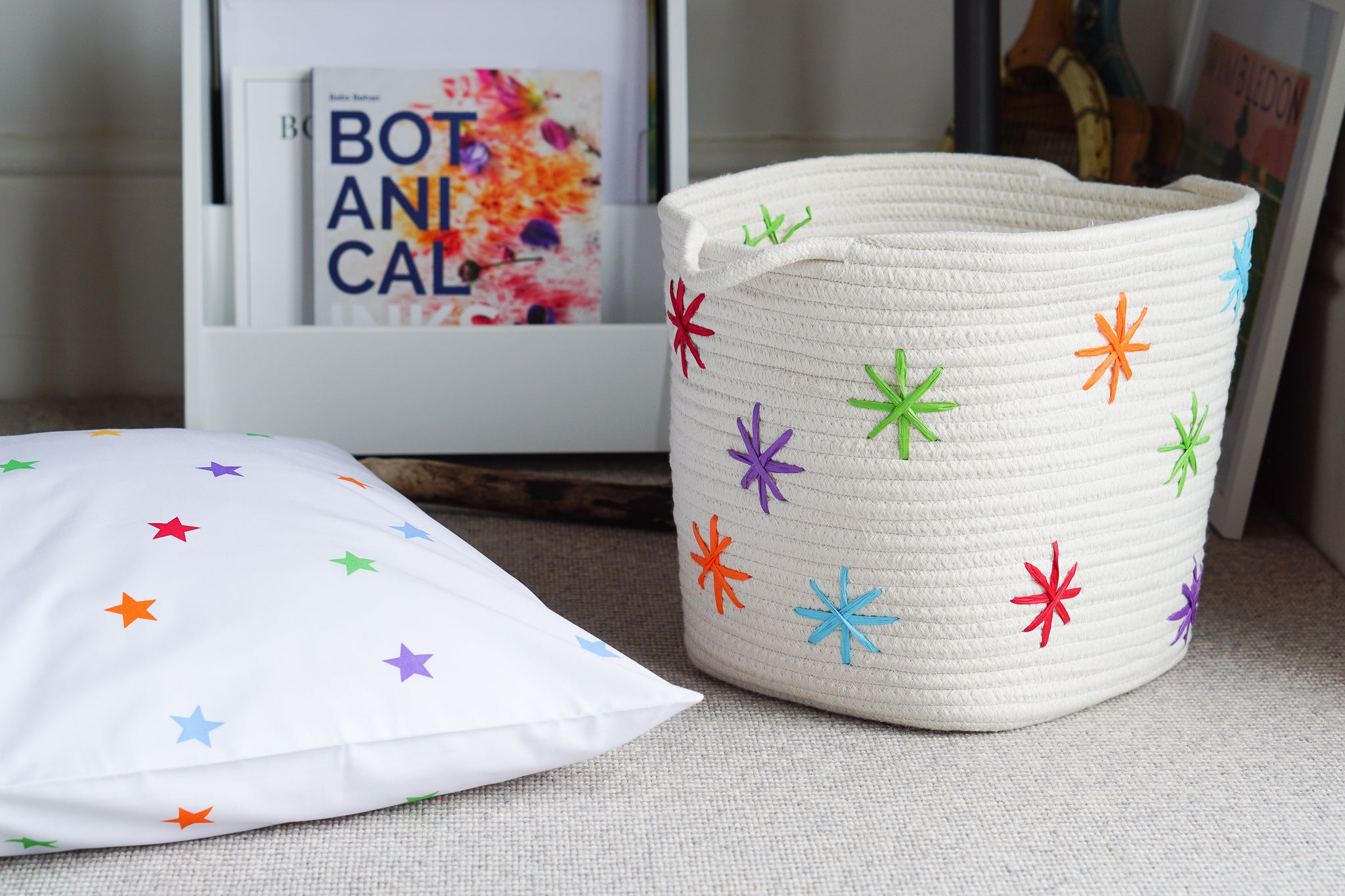 Give your ivory rope storage basket a rainbow star makeover