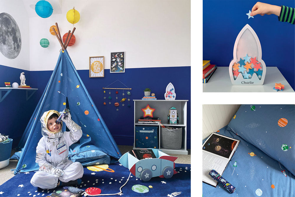 Space themed decor for kids