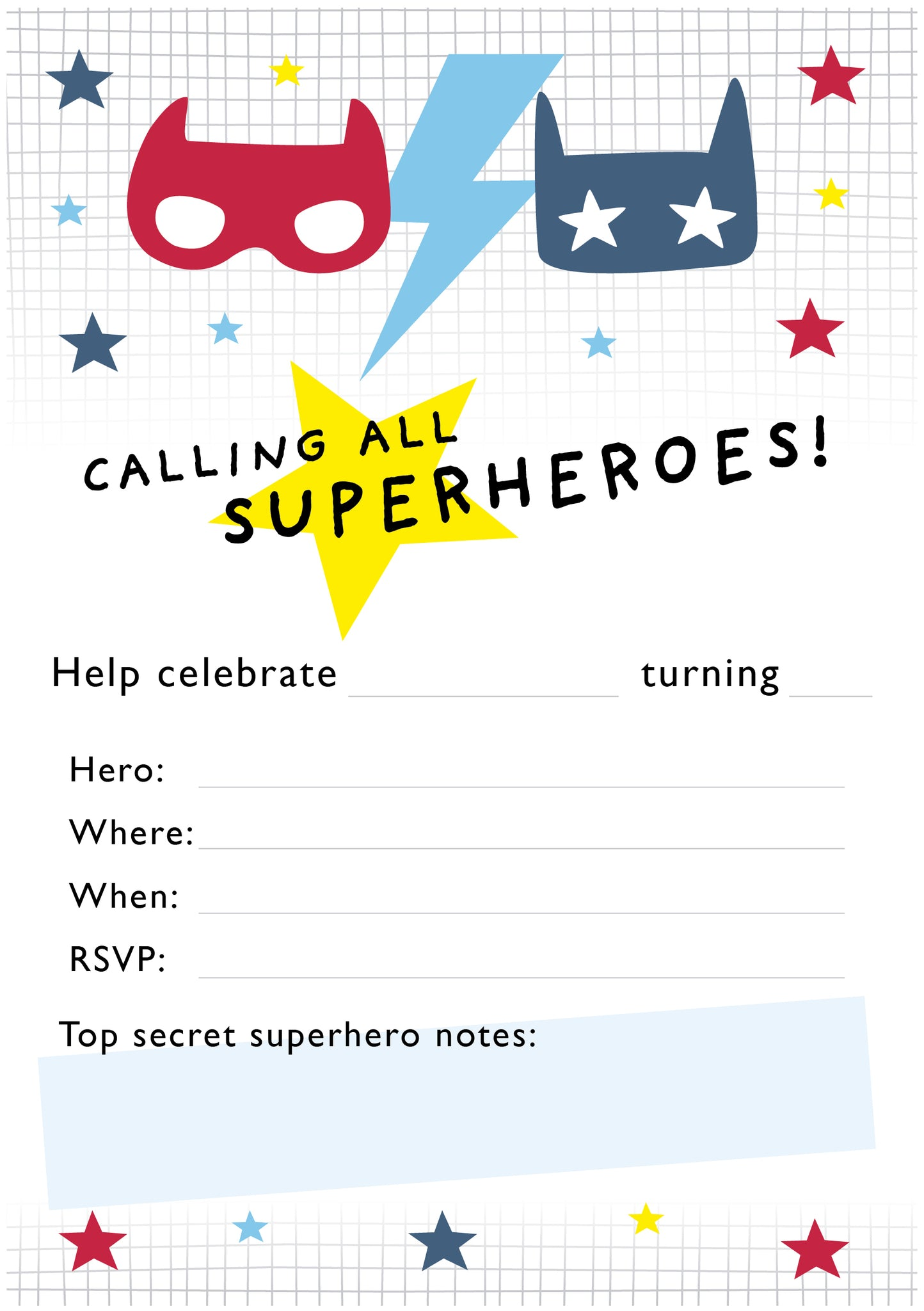 Free superhero party invitations
