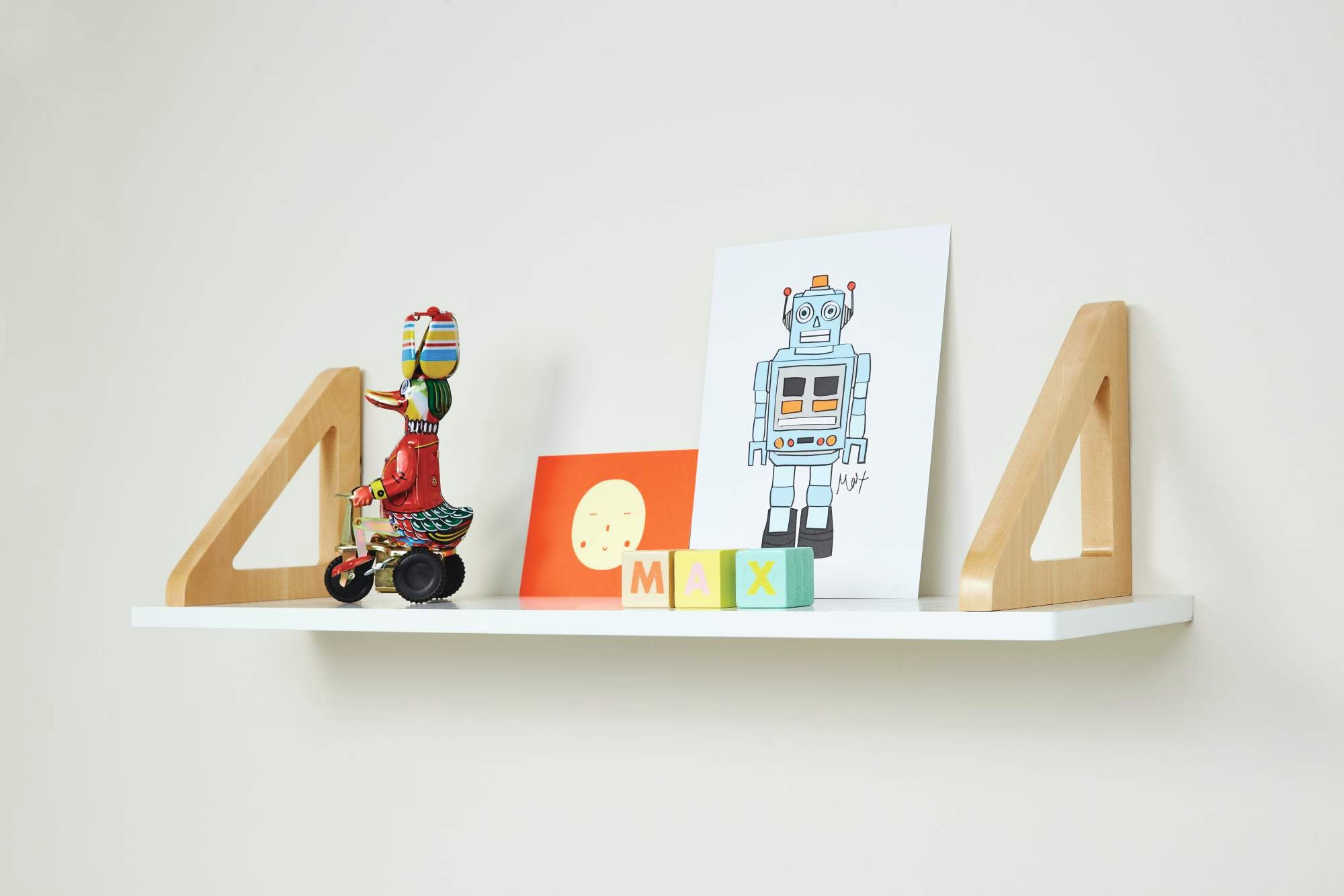 Six wall shelves that double up as children's bedside tables