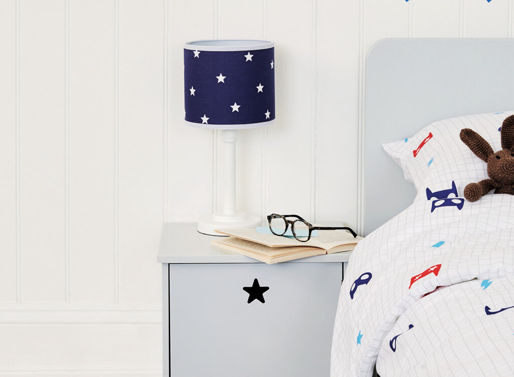 Navy stardust bedside table lamp