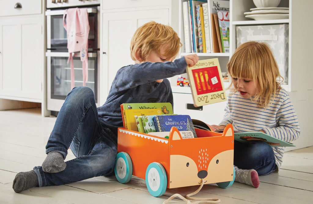 Reading and learning with book storage carts
