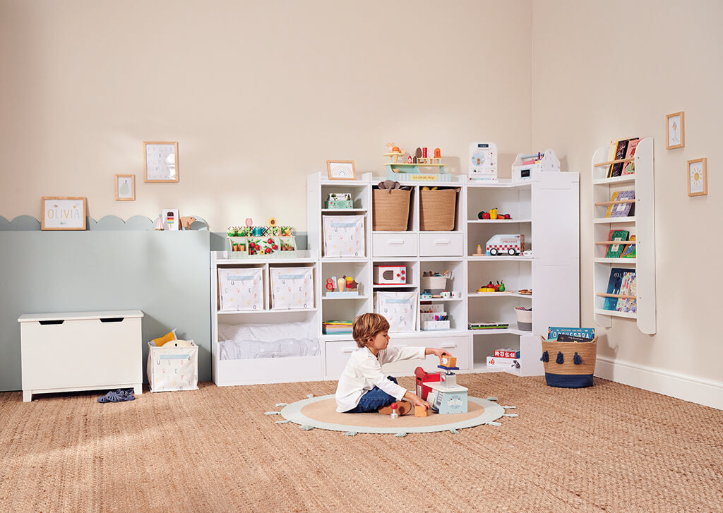 alba playroom with slide and store toy box