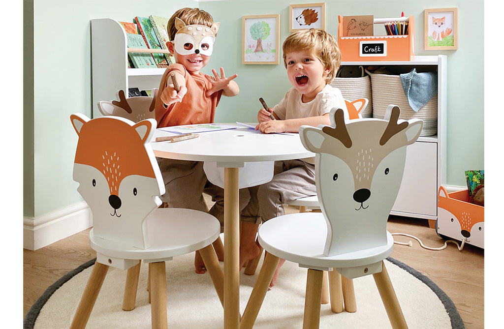 Woodland Playroom with animal toddler chairs