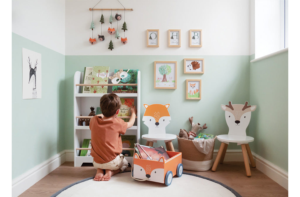 Woodland Playroom with animal toddler chairs and book storage