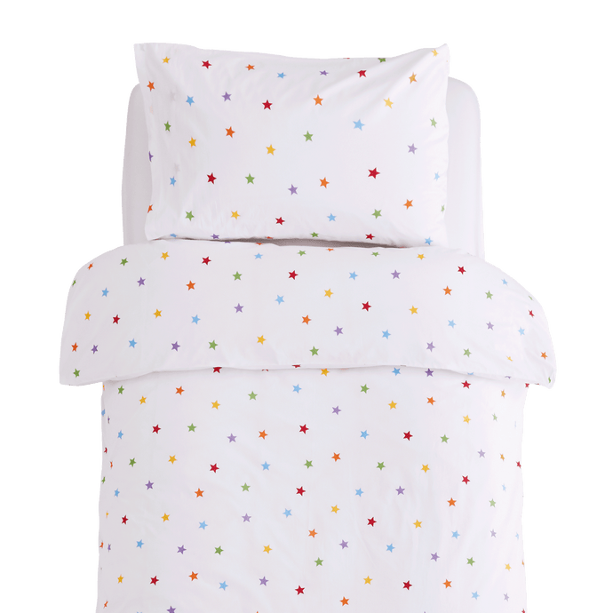 White duvet cover with rainbow stars