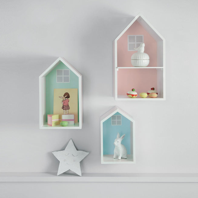 Pastel coloured wooden wall shelves