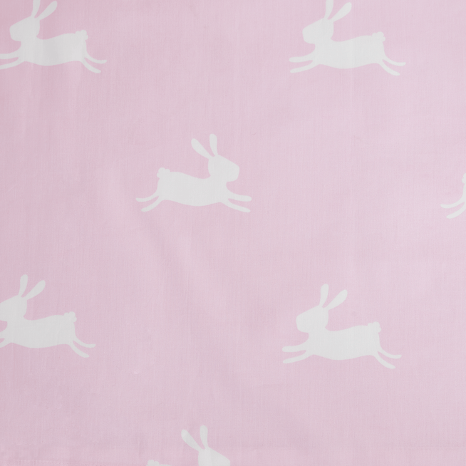 Pink curtains with white bunnies